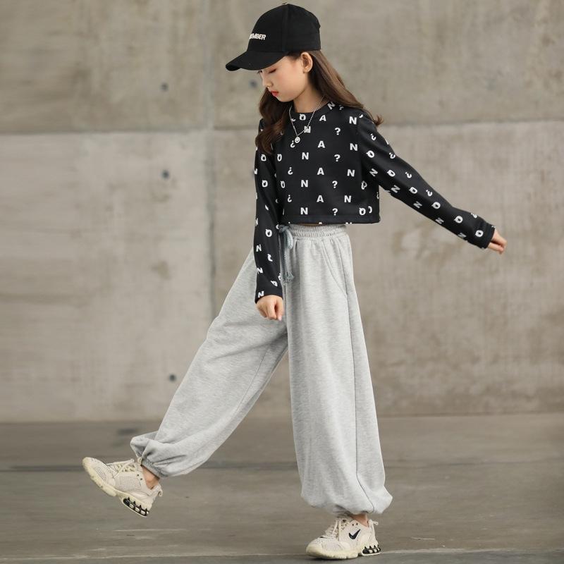 スタイリッシュ コットン アルファベット ラウンドネック ウエストリボン ワイドパンツ 長袖 2点セット ジュニア服  セットアップ 子供服