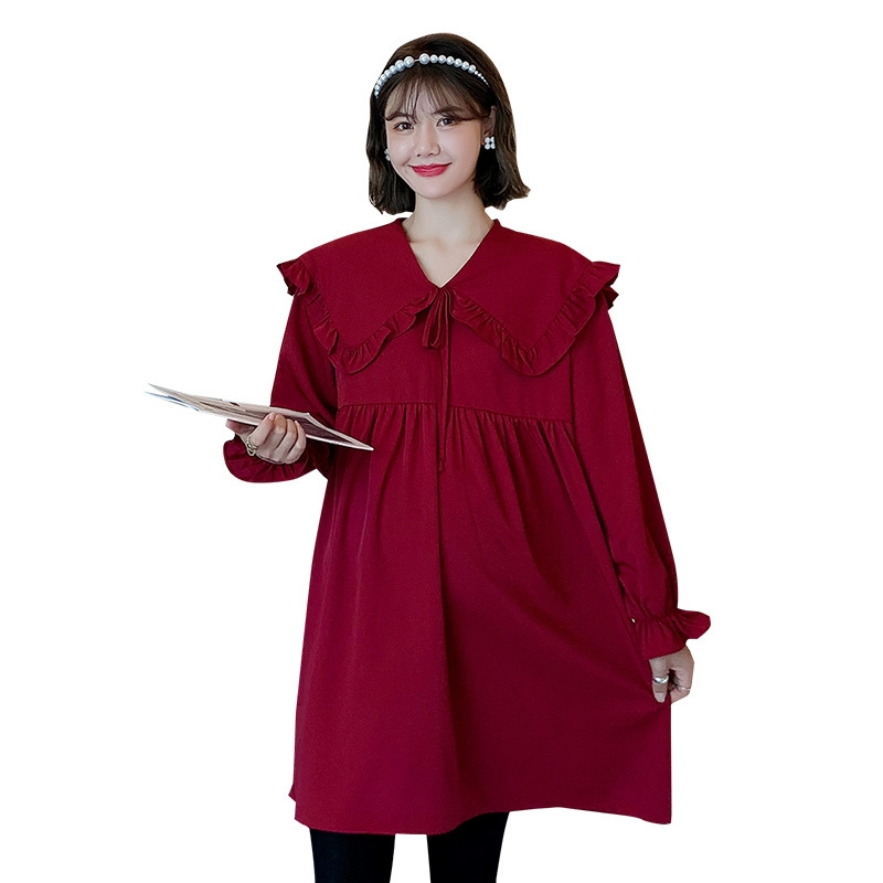 ファッション ルーズ 折り襟 ボウタイつき ワンピース マタニティ服・授乳服