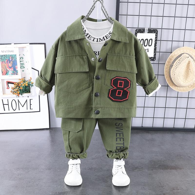 韓流スタイル アプリコット コットン シャツ パンツ アウター 三点セット 男の子 子供服