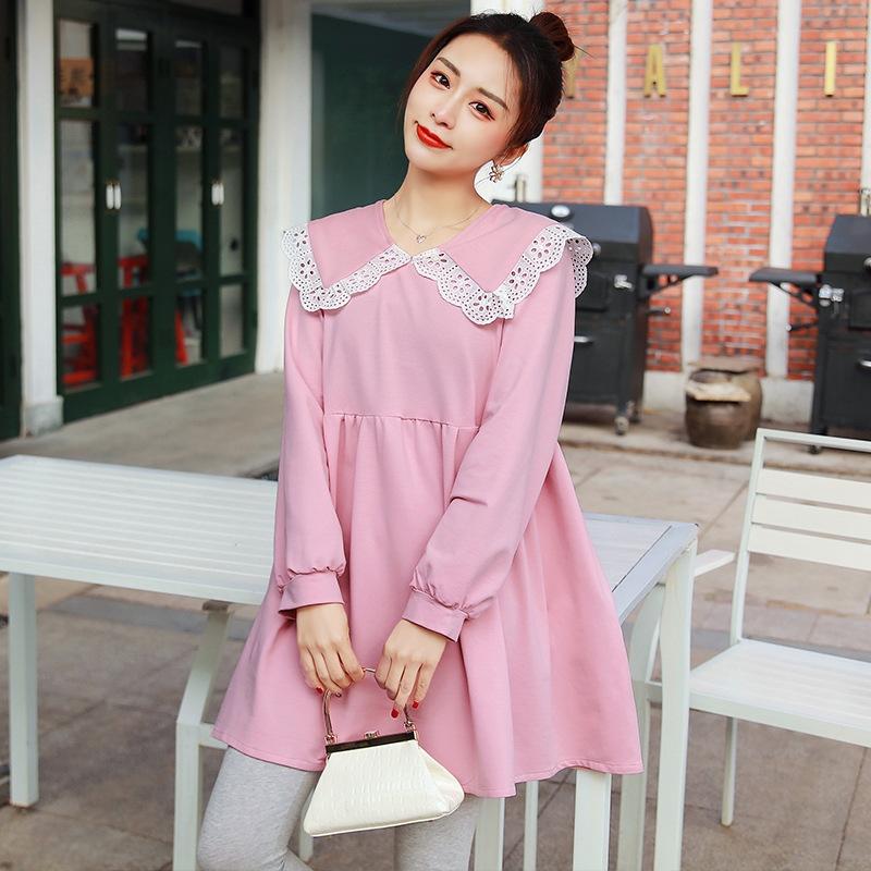 韓流スタイル♥ ラウンドネック 長袖 ワンピース マタニティ服・授乳服