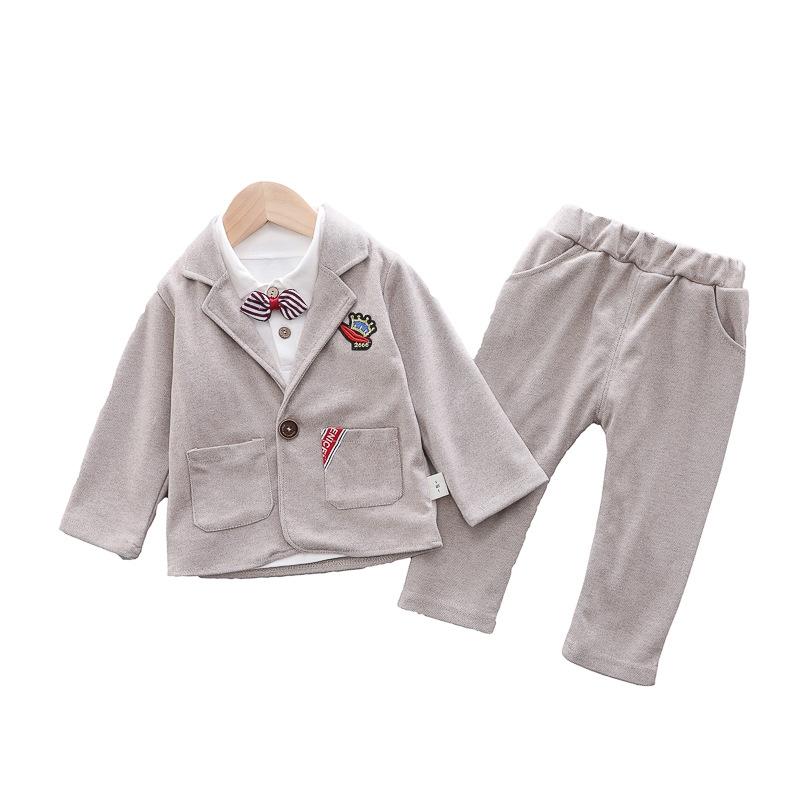 シンプル 無地 ボータイ シャツ パンツ アウター 三点セット 男の子 子供服