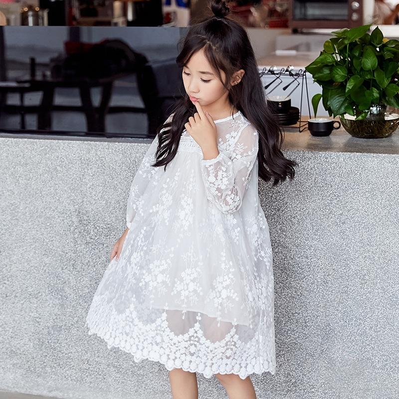 プリンセス風 キュート  コットン レース ラウンドネック 無地 チュール ワンピース 子供服