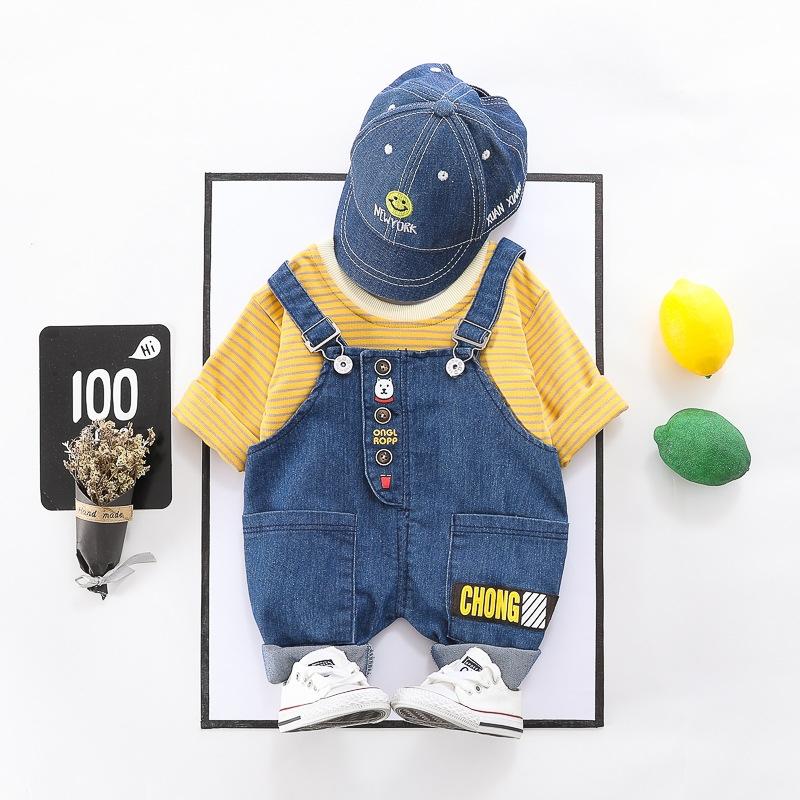 合わせやすい ストライプ 半袖 シャツ サロペット セットアップ 男の子 子供服