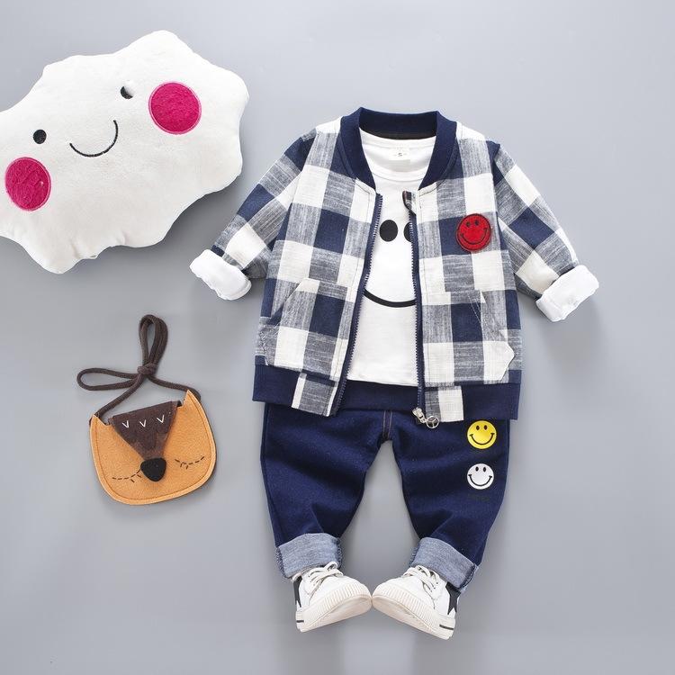ストリート チェック 笑顔 シャツ パンツ アウター 三点セット 男の子 子供服