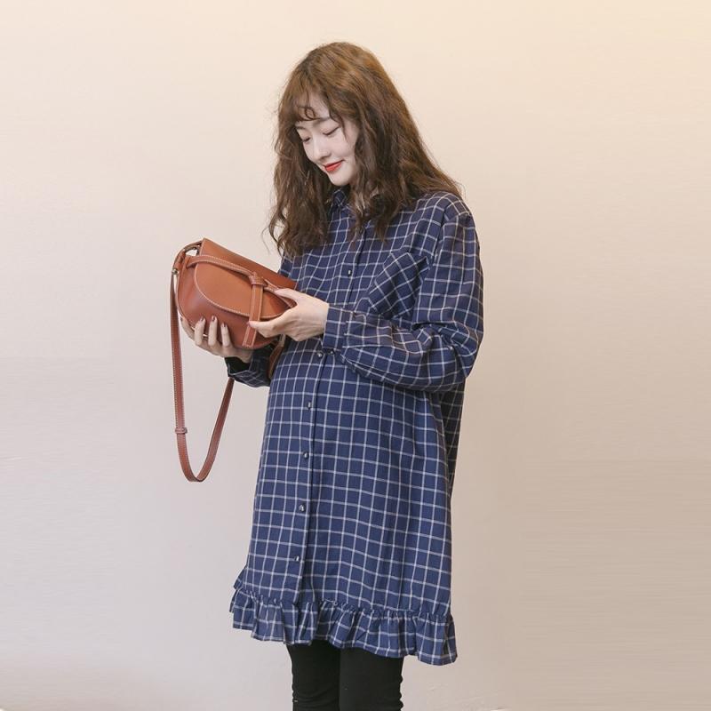 カジュアル コットン チェック柄 折り襟 フリル ロング シャツワンピース マタニティ服 授乳服