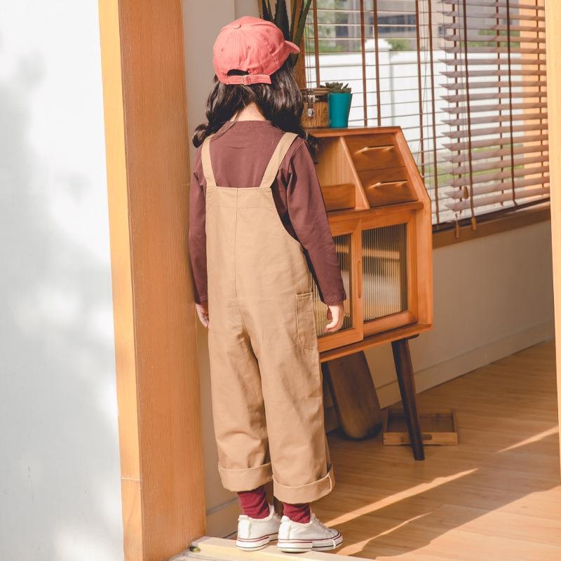 カジュアル 着痩せ 合わせやすい キュート 無地 サロペット ボトムス 子供服