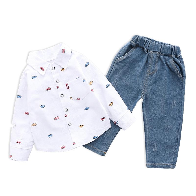 カジュアル 車図案 コットン シャツ パンツ セットアップ 男の子 子供服