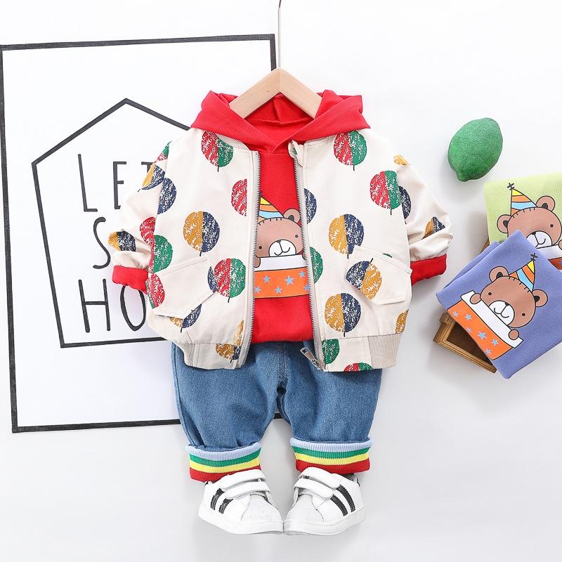 可愛い 熊 シャツ スウェット パンツ アウター 三点セット 男の子 子供服