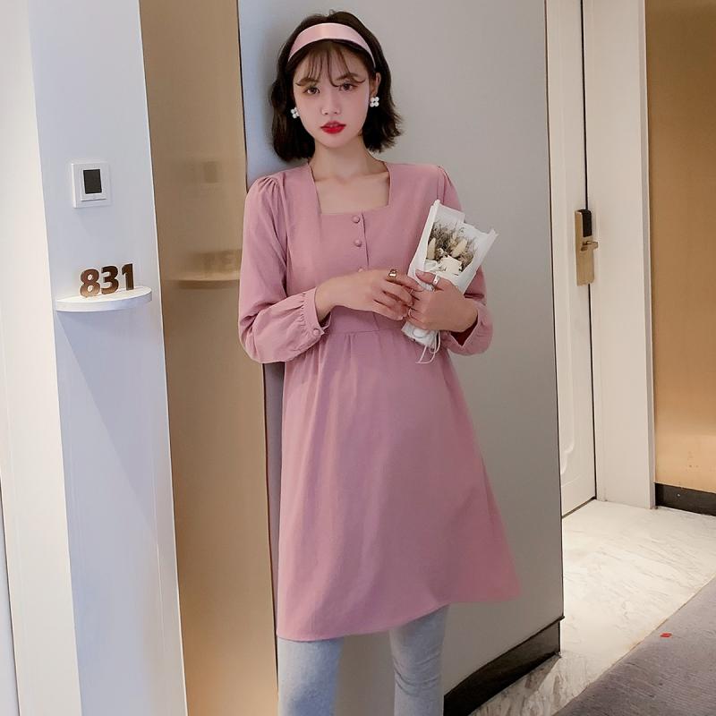 フランススタイル お洒落 ルーズ スクエアネック ワンピース マタニティ服・授乳服