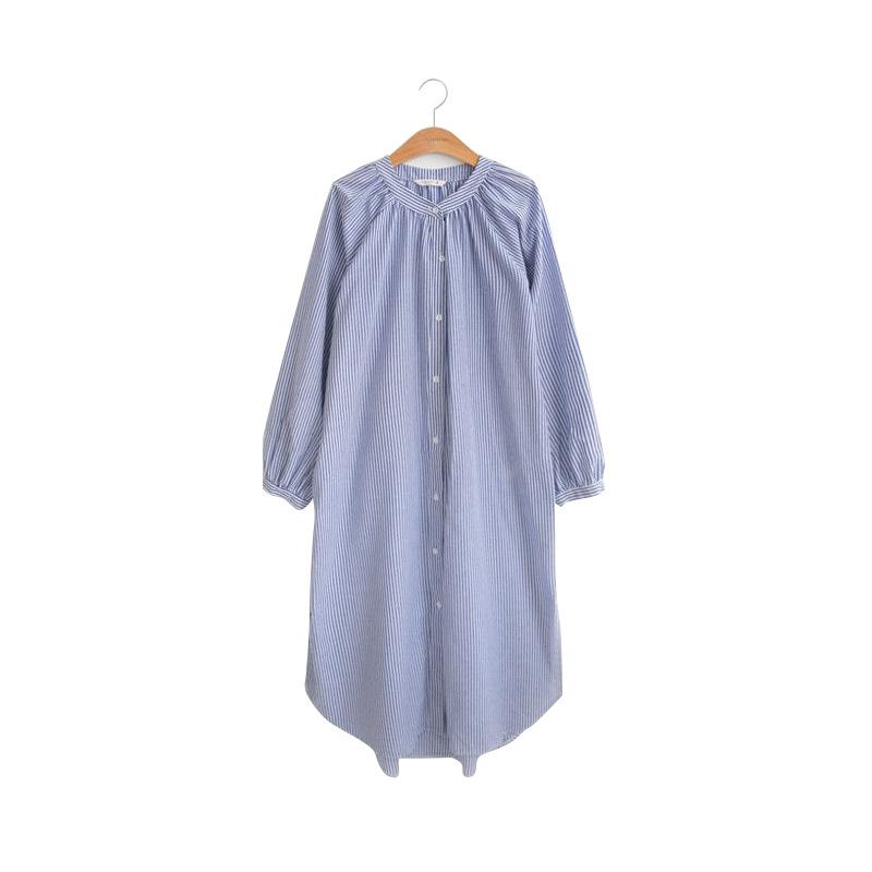 カジュアル コットン ストライプ  ラウンドネック スリット ロング シャツ トップス 子供服
