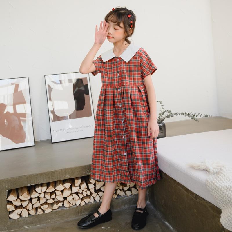 着心地抜群 デザイン感  抜群の肌触り 肌に優しい コットン 折り襟 半袖 チェック柄 レッド ジュニア服 ワンピース 子供服