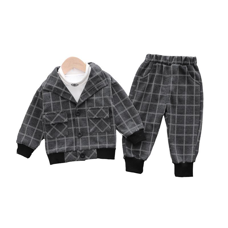 カレッジ風 チェック シャツ パンツ アウター 三点セット 男の子 子供服
