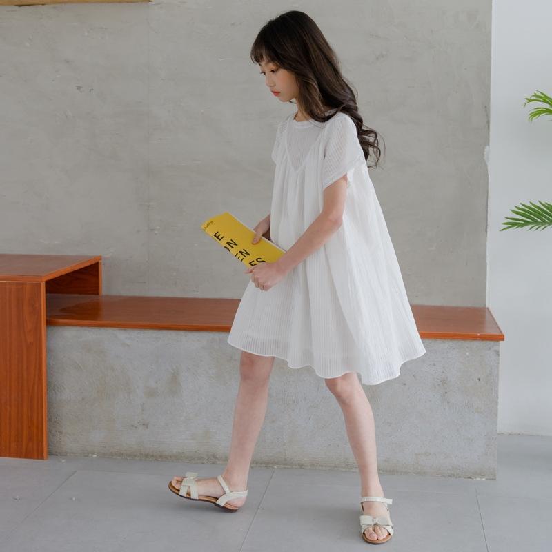 清純甘くて女子力UP コットン ラウンドネック ストラップ 透かし彫り 膝丈 プリンセス ワンピース 子供服