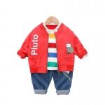 可愛い 動物図案 デニム シャツ パンツ アウター 三点セット 男の子 子供服