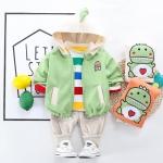カジュアル 恐竜 ストライプ シャツ パンツ アウター 三点セット 男の子 子供服
