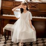 気質溢れる♪ 個性的なデザイン♪  抜群の肌触り 肌に優しい ポリエステル Vネック 半袖 星柄 Aライン ジュニア服 ワンピース 子供服