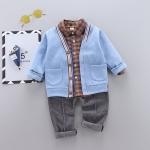 カジュアル チェック シャツ パンツ カーディガン 三点セット 男の子 子供服