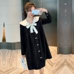 韓流スタイル♥ 折り襟 長袖 ルーズ 無地 ワンピース マタニティ服・授乳服